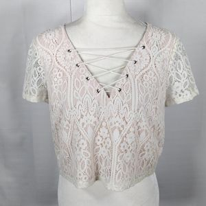 Forever 21 cream crop top M 9106 FINAL PRICE